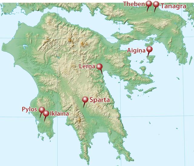 Peloponnes Karte.Mykenische Paläste